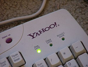 Power key - On PC keyboards, power keys were often based on rubber mechanisms, like this Yahoo-branded example.