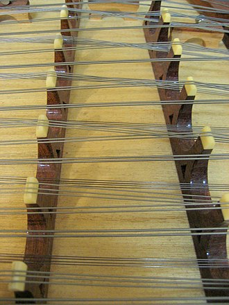 Yangqin - Bridges and strings of a yangqin. This particular image is of the lower strings, which are thicker and wound with copper.
