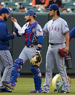 Yu Darvish - Darvish and catcher Jonathan Lucroy in 2016