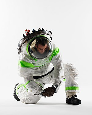 Z series space suits - Image: Z 1 Spacesuit Prototype kneeling Nov 2012