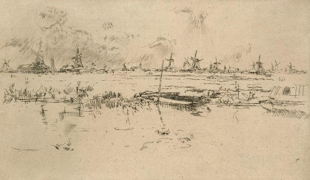 Croquis des moulins de Zaanse Schans par Whistler.