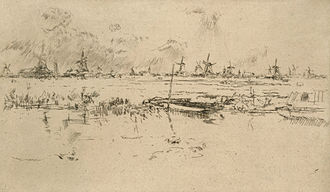 Zaandam - Zaandam circa 1889. Etching by James McNeill Whistler
