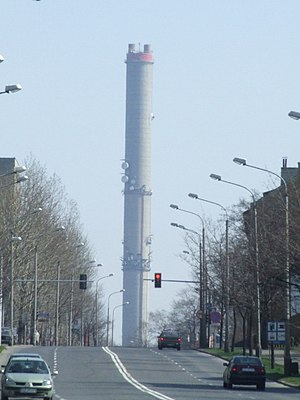 Zabrze - Zabrze Chimney Power Plant and Bohaterów Monte Cassino Street