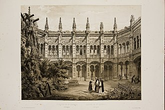Abbey of Santa Engracia - Santa Engracia, the upper cloister. Drawing by Jenaro Pérez Villaamil and Alfred Guesdon in 1834. This remained after the French's sieges.