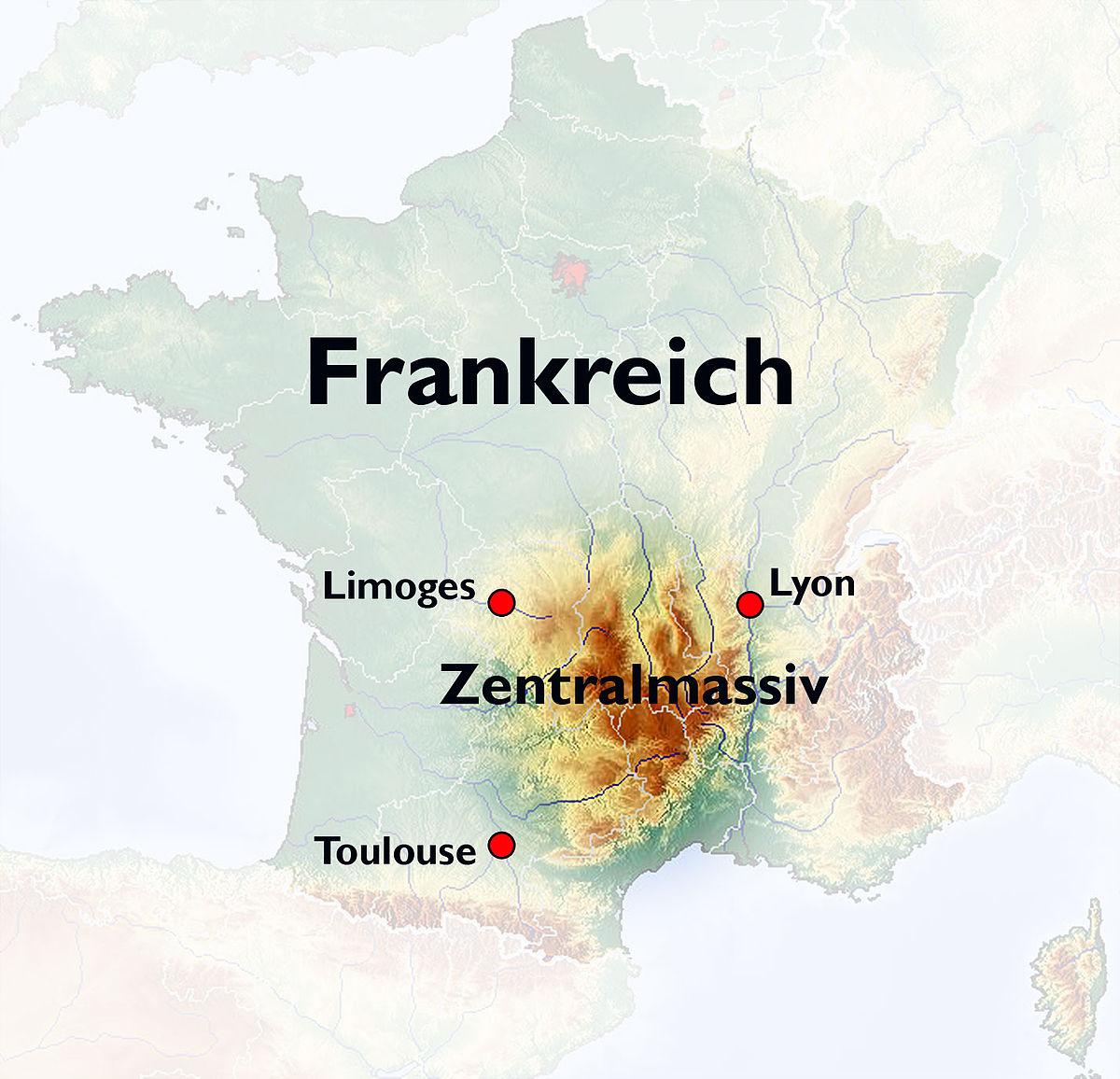 Cevennen Karte.Zentralmassiv Wikipedia