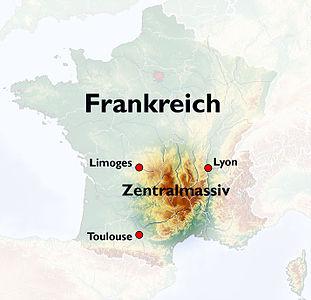 Lage des Zentralmassivs in Frankreich