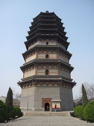 Chinese pagoda - The Lingxiao Pagoda of Zhengding, Hebei, built in 1045 AD during the Song Dynasty, with little change in later renovations.