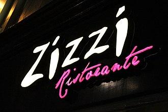 Zizzi - Zizzi sign at night, Queensferry Street, Edinburgh