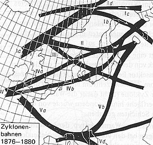 Genoa low - Map of cyclone tracks over Europe, showing divergence of track V over the Ligurian sea and north Adriatic