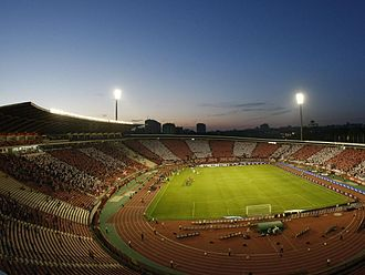 Red Star Stadium - View from roof above the south stand