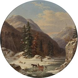 'In the Mountains below Quebec, North Shore, French Canadians in Early Winter', oil painting by Cornelius Krieghoff