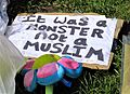 'It was a MONSTER not a MUSLIM' sign for the Westminster Attack Parliament Square, 27 March 2017 (33301046680).jpg