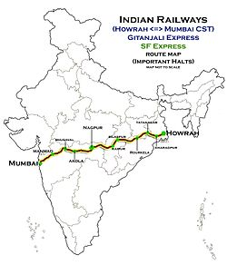 (Howrah - Mumbai) Express and Gitanjali Express Route map.jpg