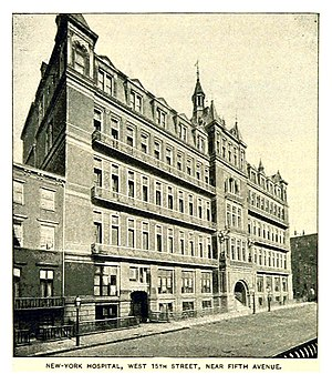 New York Hospital - The West 15th Street facade of the hospital's second building.