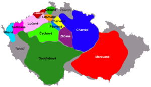 Bohemians (tribe) - Bohemian tribes shown in various colors and Moravians (tribe) in red, on a map of today's Czech Republic
