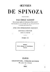 Baruch Spinoza: Œuvres de Spinoza
