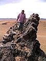 Учасниця орнітологічної експедиції О.Міклухіна біля гнізда канюка монгольського (Buteo hemilasius), Монголія.jpg