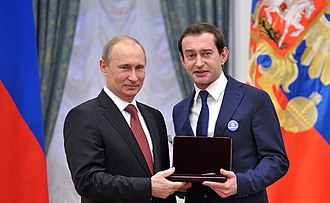 Konstantin Khabensky - Konstantin Khabensky being awarded the title People's Artist of Russia in 2012 by President Vladimir Putin