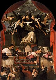 'The Alms of St. Anthony', oil on wood painting by Lorenzo Lotto, 1542. Santi Giovanni e Paolo, Venice