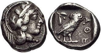Attic talent - An Athenian silver drachma, 454-404 BC, weighing 4.3 grams. A talent was equal to 6,000 drachmae, the equivalent of 25.80 kilograms of silver.