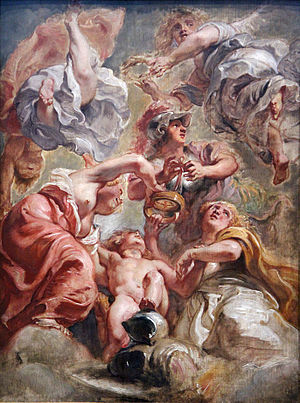 "Union of the Crowns - ""England and Scotland with Minerva and Love"" Allegorical work of the Union of the Crowns by Peter Paul Rubens."