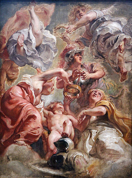 """England and Scotland with Minerva and Love"" Allegorical work of the Union of the Crowns by Peter Paul Rubens. 0 L'Angleterre et l'Ecosse avec Minerve et l'Amour - P.P. Rubens (1).JPG"