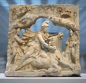 Mitra - Relief of Roman Mithras, in a tauroctony scene.