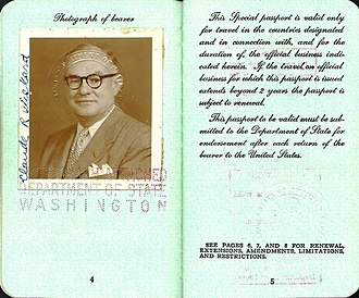 Claude R. Wickard - 1951 Special passport issued for official trip to India.