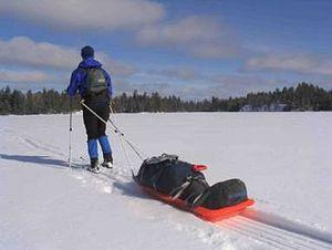 Pulk - Pulk or ahkio pulled by a skier