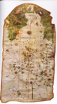 Mapamundi hecho en El Puerto por Juan de la Cosa en 1500.