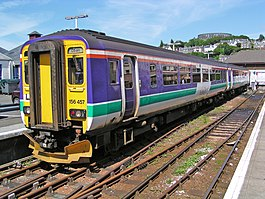 A Class 156 Sprinter train in the old National Express ScotRail livery at Oban