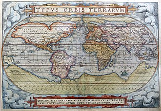 World map from 1572, where the area was believed to be part of what was then called Terra Australis. 1572 Typus Orbis Terrarum Ortelius.jpg