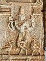 15th-16th century Vaishnavism Vitthala temple Bhagavata Purana Krishna playing flute relief, Hampi Hindu monuments Karnataka.jpg