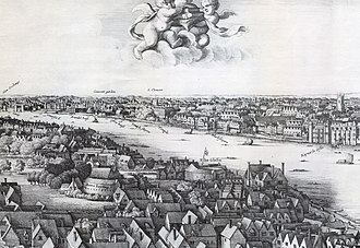 Long View of London from Bankside - Detail: Bankside and Strand to Baynard's Castle
