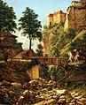 1837 Harnier Reiter in altdeutscher Tracht vor der Burg Tirol anagoria.JPG