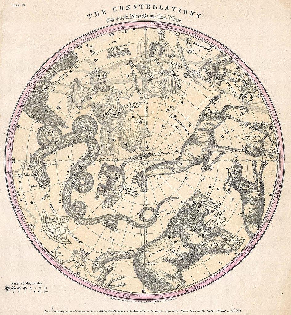 Sky Chart Tonight: 1856 Burritt - Huntington Map of the Stars ^ Constellations ,Chart