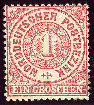 Postage stamps and postal history of the North German Confederation - Image: 1869 NDPB 1groschen Mi 16