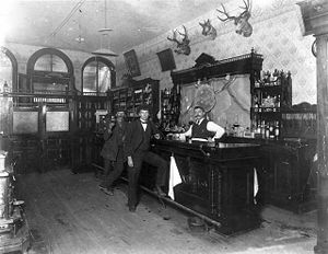History of alcoholic drinks - Interior view of the Toll Gate Saloon in Black Hawk, Colorado (1897).