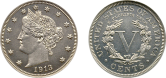 1913 Liberty Head nickel - The Eliasberg specimen is the finest known 1913 Liberty Head nickel.