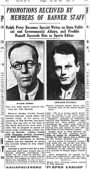 Fred Russell - Nashville Banner announcement of Russell's promotion to sports editor, 21 September 1930.