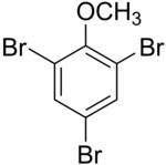 Skeletal formula of 2,4,6-tribromoanisole