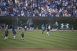2008 Chicago Cubs season - The Cubs and fans celebrate the 2008 National League Central Division championship.  A few Cubs Win flags are visible.