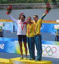 2008 Olympic triathlon women - medal ceremony.JPG