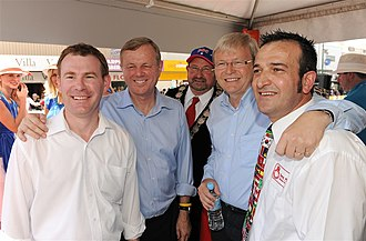 Gawler, South Australia - Current local federal MP for Wakefield Nick Champion, Premier Mike Rann, Prime Minister Kevin Rudd and current local state MP for Light Tony Piccolo in Gawler for the Tour Down Under in 2010.