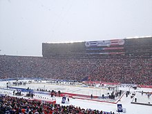 A view of the 2014 Winter Classic ice hockey game from the stands of Michigan Stadium.