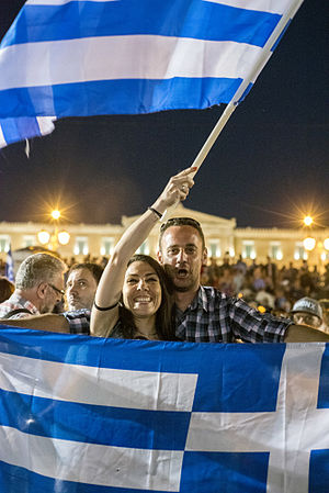 Greek bailout referendum, 2015 - Celebrations after the results were settled, Syntagma Square, Athens
