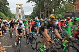 2016 Tour of Britain (7b Lap 1) crossing Clifton Suspension Bridge.JPG