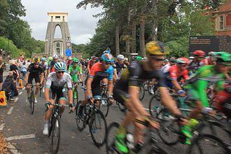2016 Tour of Britain - Crossing Clifton Suspension Bridge during stage 7