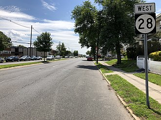 Roselle Park, New Jersey - Route 28 westbound in Roselle Park