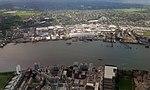 2018 LCY, aerial view of Royal Wharf & Charlton Riverside.jpg